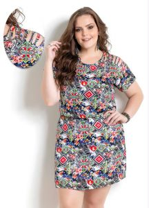 Vestido com Tiras Quintess Estampado Plus Size