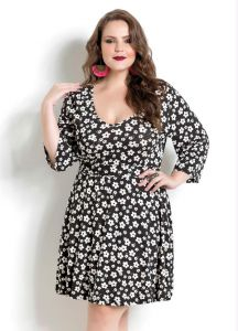 Vestido Manga 7/8 Floral Dark Quintess Plus Size