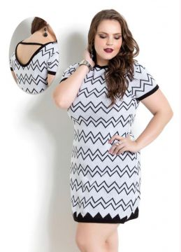 Vestido Tricô Estampa Zig-Zag Quintess Plus Size