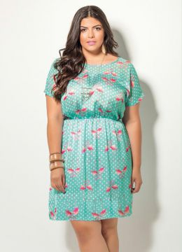 Vestido Quintess Estampa Flamingos Plus Size