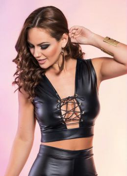Top Cropped Preto com Transpasse Frontal
