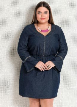 Vestido Jeans Manga 7/8 Quintess Plus Size