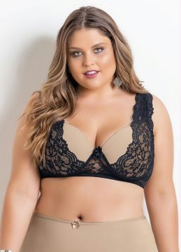 Sutiã Plus Size Chocolate e Renda Christian Gray