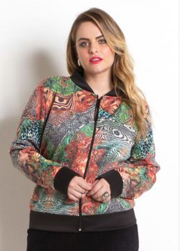 Jaqueta Bomber Mix de Estampas Plus Size
