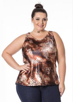 Regata Estampada Preto Miss Masy Plus