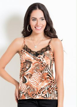 87b7b12bf7b Blusa Animal Print com Renda no Decote