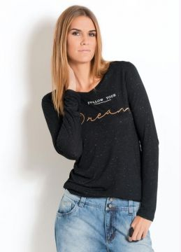 Blusa Preta Quintess Estampa Follow Your Dream