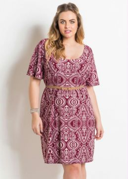 Vestido Estampado com Cinto Plus Size Quintess