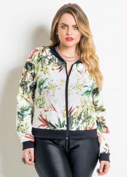 Jaqueta Bomber Mix de Folhas Plus Size Quintess