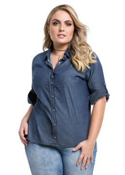 Camisete Jeans Plus Size Azul Wee!