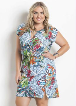 Vestido Estampado com Fenda Plus Size