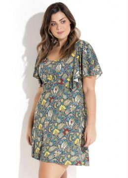 Vestido Evasê Mix de Estampas Plus Size Quintess