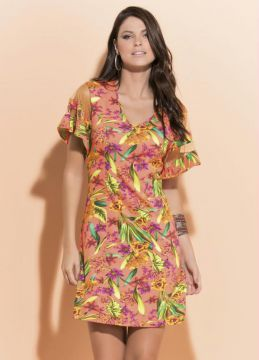 Vestido Quintess Tropical com Tule nas Mangas