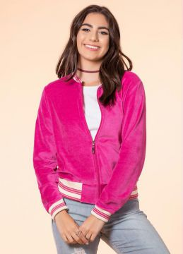 Jaqueta Bomber de Plush Rosa Up Close