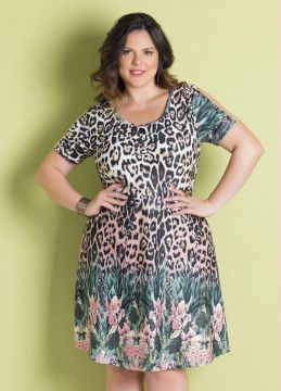 Vestido Mix de Estampas com Tule Plus Size