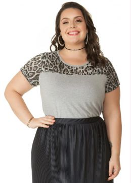 Blusa Animal Print Cinza Miss Masy Plus