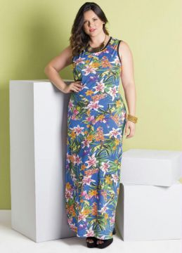 Vestido Longo Tropical Plus Size Marguerite