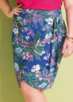 Saia Transpassada Tropical Plus Size Marguerite