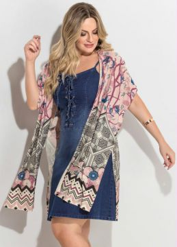 Kimono Estampa Barrado Fenda Plus Size Quintess