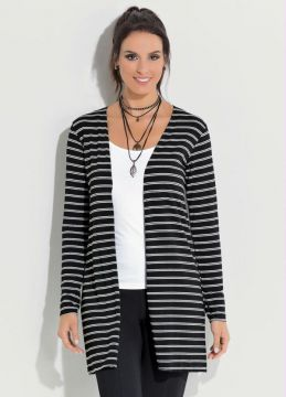 Cardigan Alongado Quintess Preto e Branco