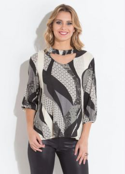 Blusa Geométrica Quintess com Gola Chocker