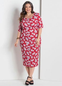 Vestido Midi Estampa Margarida Plus Size