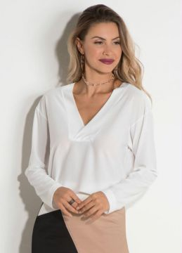 Blusa com Decote V Quintess Off White