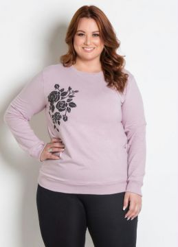 Casaco Alongado Plus Size Rosa