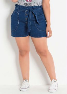 Short Jeans Clochard Plus Size com Amarração