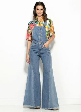 Jardineira Flare Double Wash Jeans
