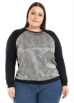 Blusa Animal Print Preto - Miss Masy Plus