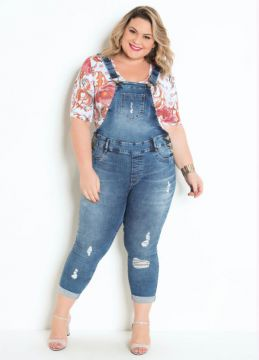 Jardineira Plus Size Jeans Cropped - Sawary Jeans