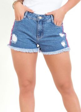 Sawary Jeans - Short Jeans Destroyed Com Faixas Neon Sawary