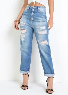 Eventual - Calça Mom Eventual Com Destroyed Jeans