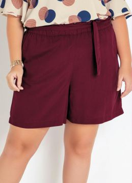 Mink - Short Plus Size Bordô Viscose Com Amarração