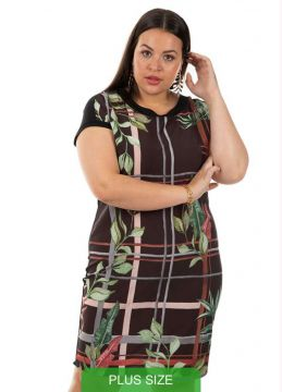 Cativa Plus Size - Vestido Com Estampa Tropical Preto