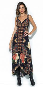 Farm - Vestido Midi Caliandra Preto