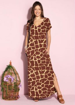 Quintess - Vestido Longo Soltinho Com Fenda Animal Print