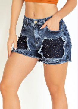 Sawary Jeans - Short Jeans Destroyed Com Tachas Sawary