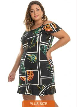 Rovitex Plus Size - Vestido Estampado Plus Size Preto