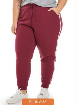 Miss Masy Plus - Calça Moletom Faixas Sport Bordo