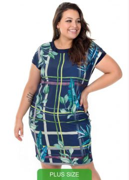 Cativa Plus Size - Vestido Com Estampa Tropical Azul