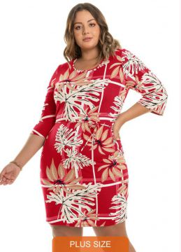 Rovitex Plus Size - Vestido Estampado Rovitex Plus Size Verm