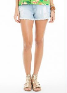 Short Jeans Claro Destroyed Azul Mercatto