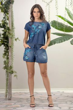 Short Bordado Jeans