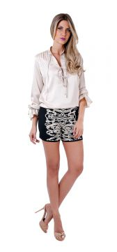 Short Mescla Black White