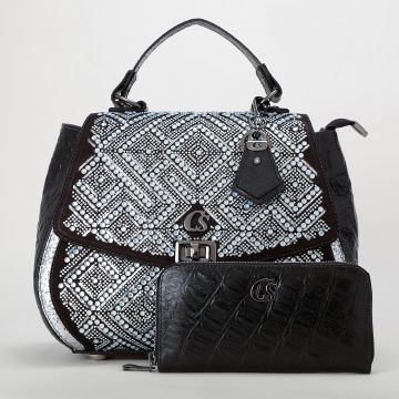 Bolsa Camurça Brilho Preta - Carmen Steffens