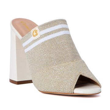 Tamanco Open Boot White Gold - Carmen Steffens