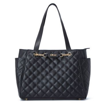 Quilted Leather Bag Black - Carmen Steffens
