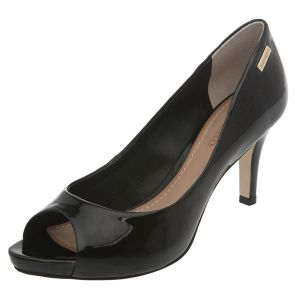 Peep Toe Dumond Simple Preto Dumond